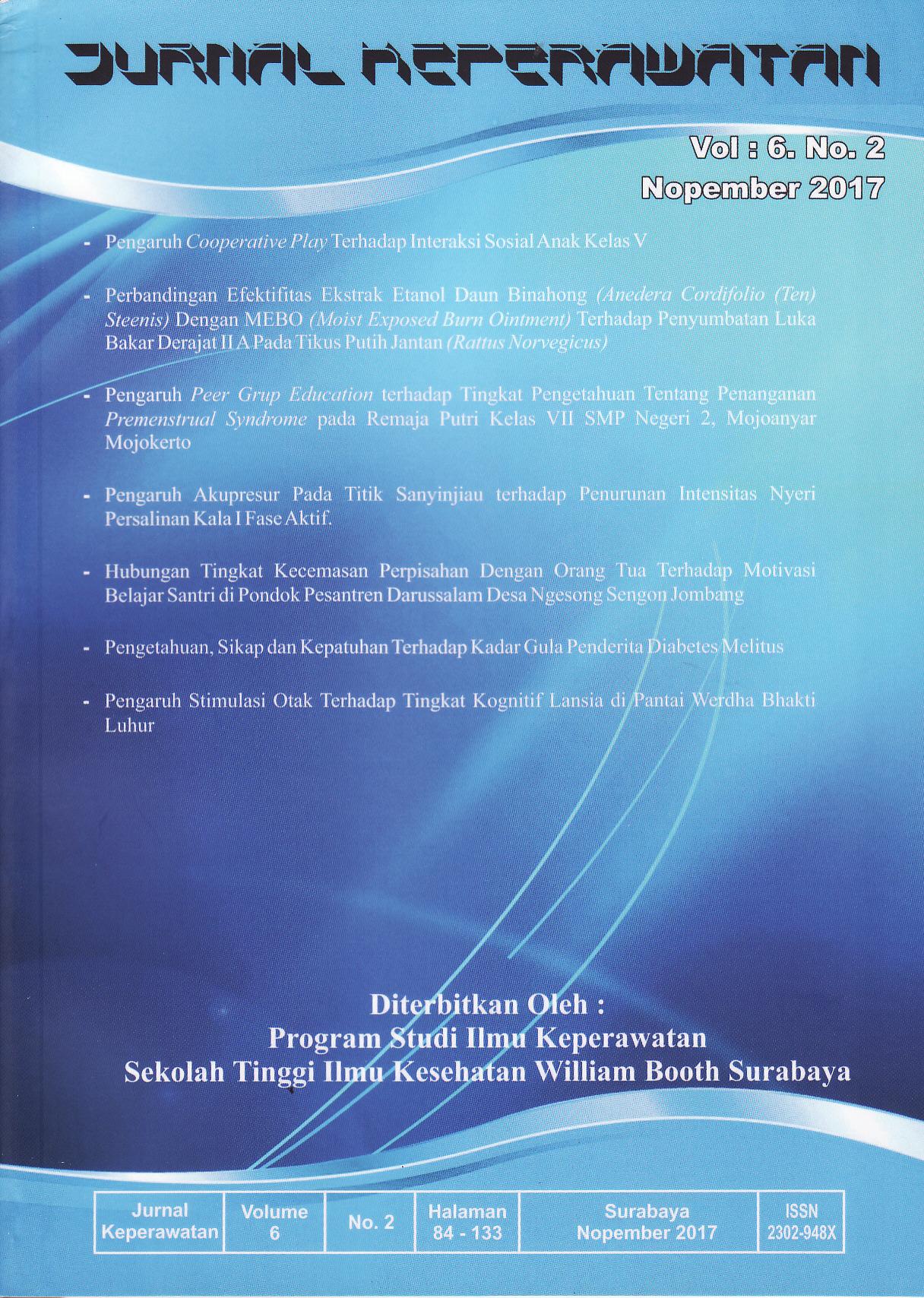 Jurnal Keperawatan Vol 6 No 2 November 2017